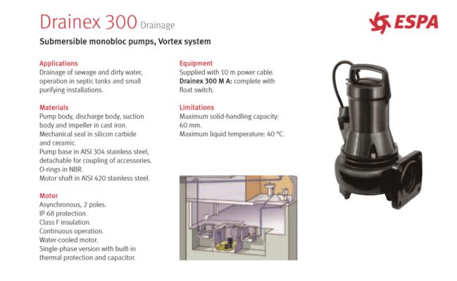 ESPA: Drainex 300 Drainage - Submersible monobloc Vortex System Pumps