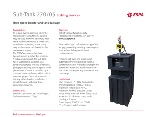 ESPA: Sub Tank 270/05 Building Services - Fixed Speed booster and tank Package Pump and Fittings UK