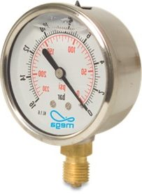 Glycerine filled pressure gauge – Bottom Entry 1/4″ male 63mm Face