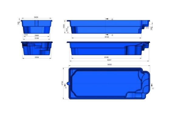 Fibreglass Pre Fab Swimming Pool Houston Blue